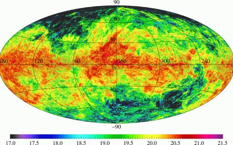 Külma neutraalse vesinikgaasi taevajaotus (värvid tähistavad gaasi pindtihedust). Jooniselt on näha, et külm gaas on kõige ebaühtlasema jaotusega ja see gaasifaas on kõige tugevamini koondunud Linnutee tasandi ümbrusse.