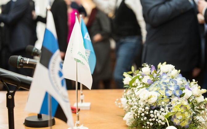 Подписание коалиционного договора Центристской партии, EKRE и Isamaa 8 апреля 2019 года.