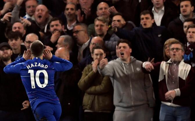 Eden Hazard väravat tähistamas.