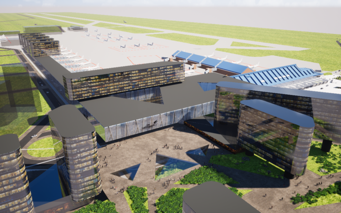 Rendering of the planned extension of Lennart Meri Airport. The existing terminal buildings are on the right.