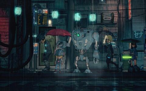 """Nicola Piovesani ulmeanimafilmis """"Robot kaitseb sind"""" uitavad 9-aastane Tina ja tema robot SAM-53 tuleviku Berliinis, otsides vastust küsimusele, kas kübermaailmas on päris armastusele veel kohta."""