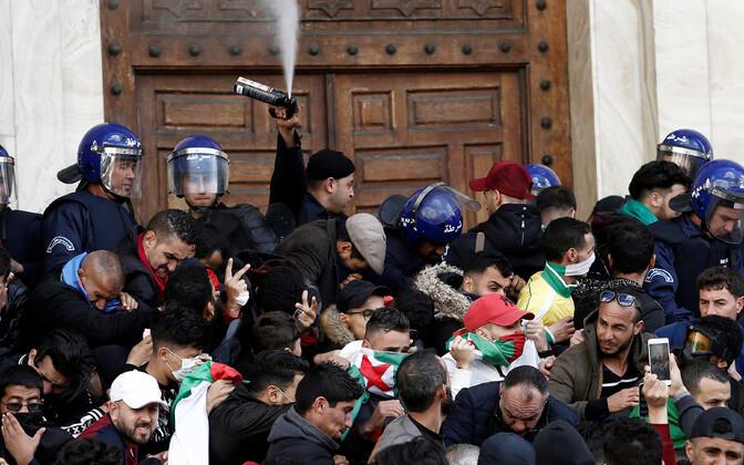 Protest ajutise presidendi vastu Alžiiris.
