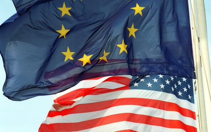 USA ja Euroopa Liidu lipp.