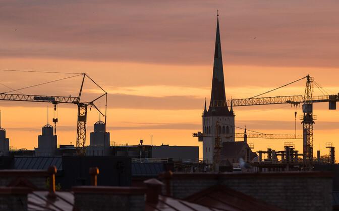 Construction cranes in Tallinn.