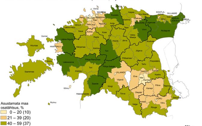 Удельный вес незаселенной территории (%) в местных самоуправлениях на 1 января 2018 года.