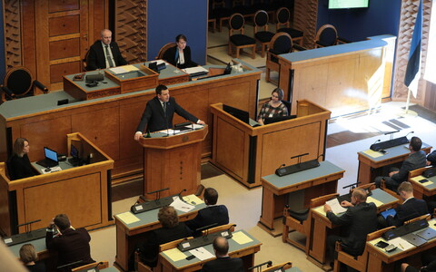 Candidate for Prime Minister Jüri Ratas (Centre) addressed the Riigikogu on Wednesday. 17 April 2019.