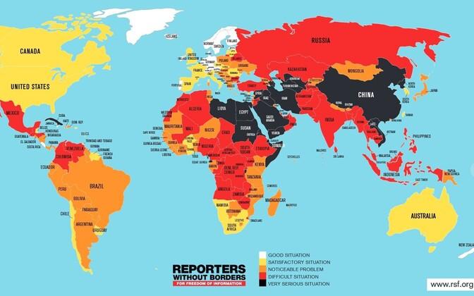 Kõige hullem on olukord pressivabadusega mustaga märgitud riikides. Mida heledam värv, seda parem on olukord.