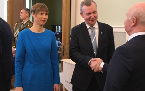President Kersti Kaljulaid and Ambassador Margus Laidre greeted guests at the formal repoening of the Estonian Embassy in Moscow on Thursday. 18 April 2019.