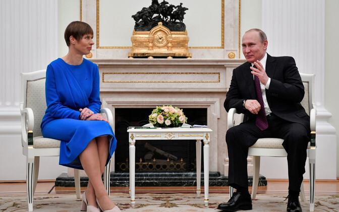 Керсти Кальюлайд и Владимир Путин проводят встречу в Кремле.
