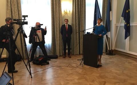 Пресс-конференция Керсти Кальюлайд в посольстве Эстонии.