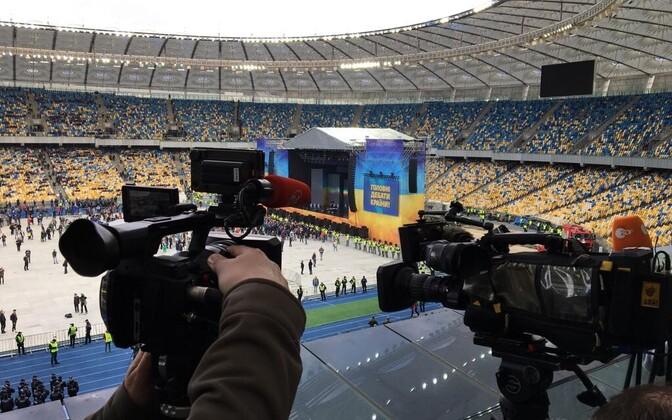 Rahvast on Porošenko staadionipoolele rohkem kogunenud.