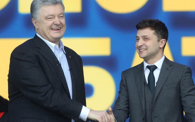 Петр Порошенко и Владимир Зеленский на дебатах 19 апреля.