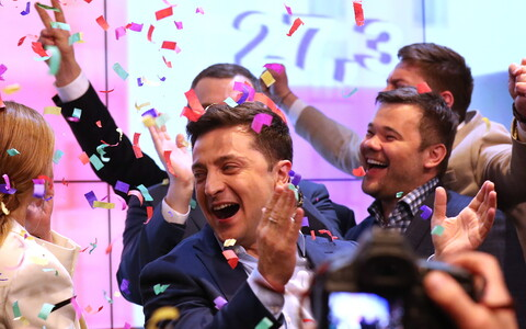 President-elect Volodymyr Zelensky celebrating his election win in Ukraine.