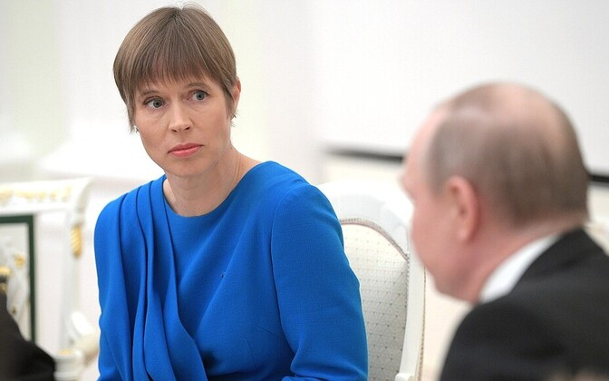 President Kersti Kaljulaid at her meeting with Russian President Vladimir Putin in Moscow. April 2019.