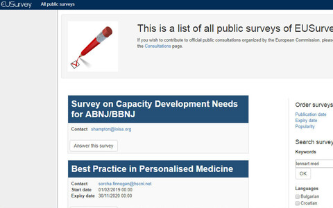Searching for the survey in question on 22 April yielded no hits for public surveys on the EUSurvey homepage.
