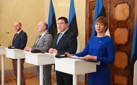 The coalition government, with leaders (left to right) Helir-Valdor Seeder (Isamaa), Mart Helme (EKRE) and Jüri Ratas (Centre), may have been signed in by Kersti Kaljulaid just a couple of weeks ago, but has already caused the spilling of much virtual ink