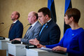 President Kersti Kaljulaid formally appoints the new coalition cabinet.