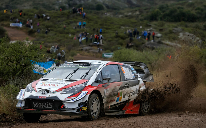 Ott Tänak and Martin Järveoja in the Toyota Gazoo Racing Yaris.