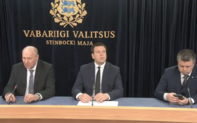 Mart Helme (EKRE), Jüri Ratas (Centre) and Urmas Reinsalu (Isamaa) at Thursday's government press conference, the new government's first. May 2, 2019.