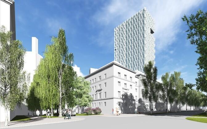 KOKO arhitektide 2015. aastal tehtud kontseptsioon Lauteri 3 hoonest. Vaade Lauteri tänavalt.