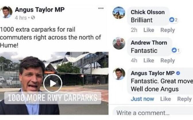 Ekraanitõmmis Angus Taylori Facebooki-postitusest.