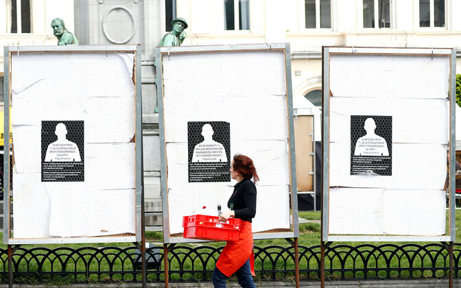 Plakatistendid Euroopa Parlamendi lähistel Brüsselis.