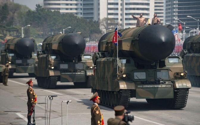 Sõjaväeparaad Põhja-Koreas.