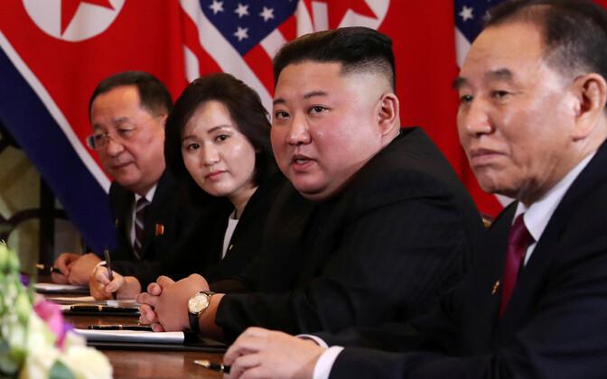 Kim Jong-un kohtumisel Donald Trumpiga tänavu veebruaris.