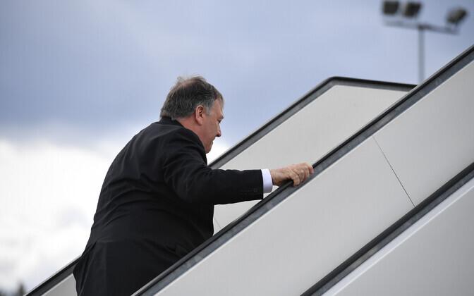 USA välisminister Mike Pompeo Rovaniemi lennuväljal.