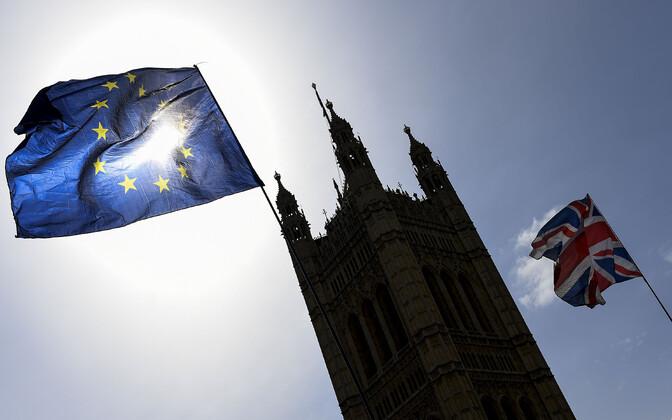 Euroopa Liidu ja Suurbritannia lipp Londonis.