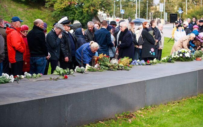 A memorial service at the MS Estonia memorial in Tallinn on September 28, 2018, marking the 24th anniversary of the MS Estonia disaster.