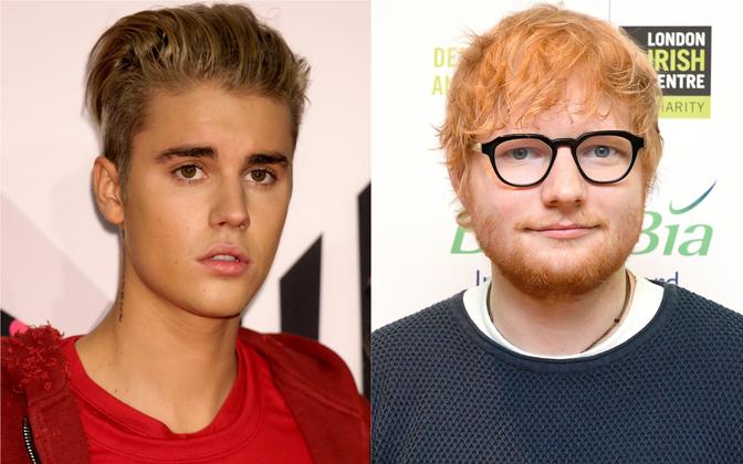 Justin Bieber (vasakul) ja Ed Sheeran.