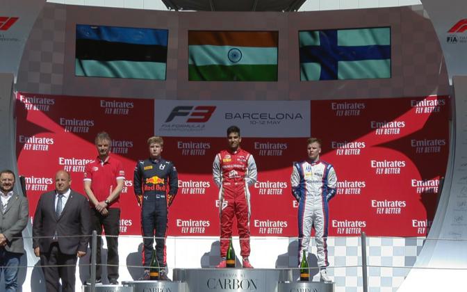 Jüri Vips Barcelona GP pjedestaalil