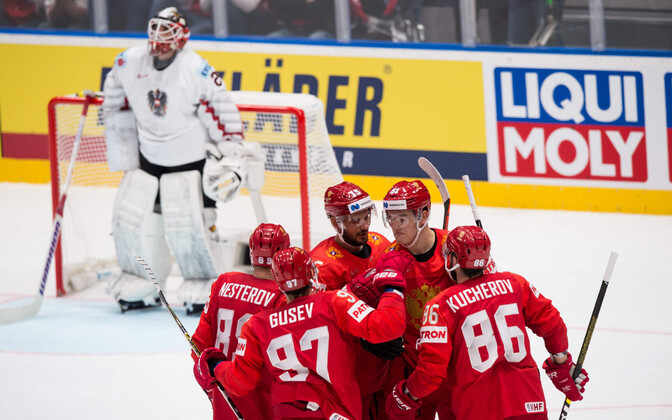 Venemaa jäähokikoondis väravat tähistamas