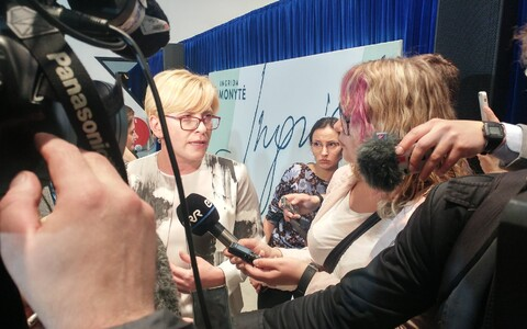 Lithuania's new prime minister-in-waiting Ingrida Šimonytė, being interviewed by ERR.