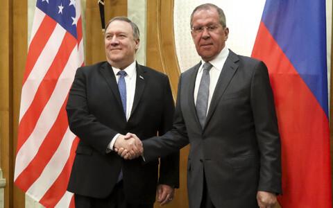 Майк Помпео и Сергей Лавров на встрече в Сочи.