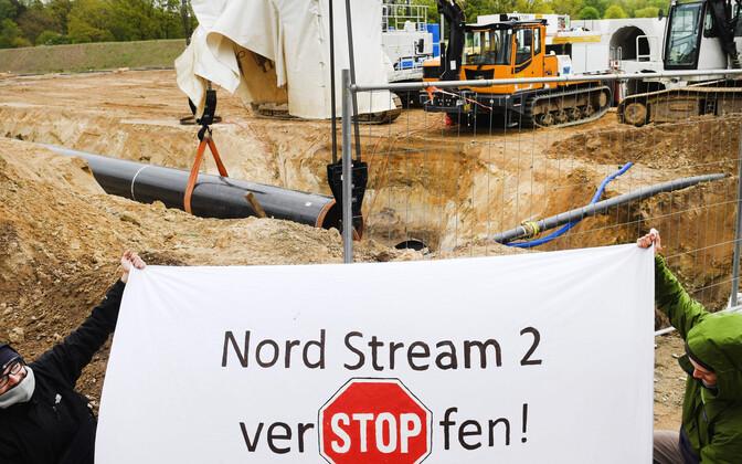 Saksa looduskaitsjad Nord Stream 2 ehitustöid tõkestamas.