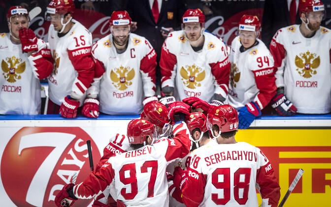 Venemaa jäähokikoondis väravat tähistama