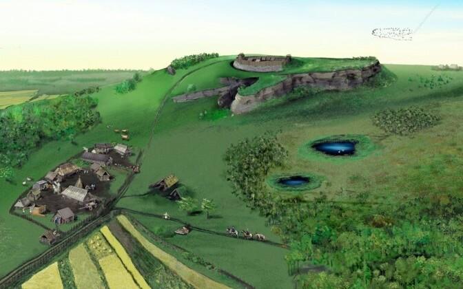 Созданная Яаной Ратас по археологическим данным реконструкция поселения 1218 года, где впоследствии вырос город Таллинн.