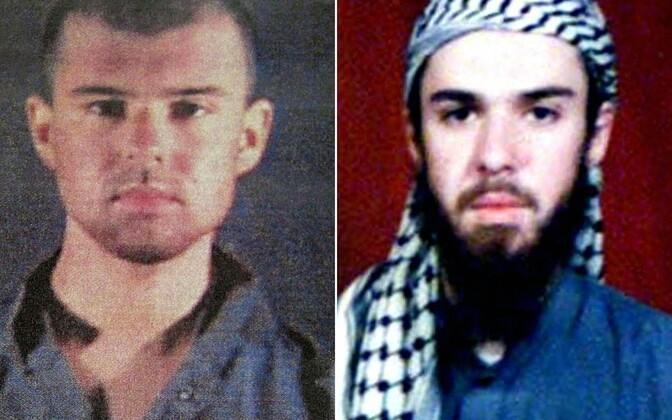 John Walker Lindh. Vasakpoolne pildi avalikustas USA politsei 2002. aastal, parempoolne foto Lindhist on pärit Pakistanis asuvast religioossest koolist.