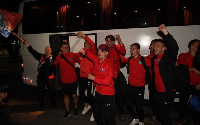 В Нарве торжественно встретили выигравший Кубок Эстонии