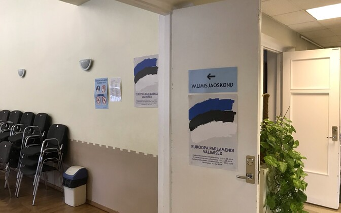 A polling station in Estonia on elections day.