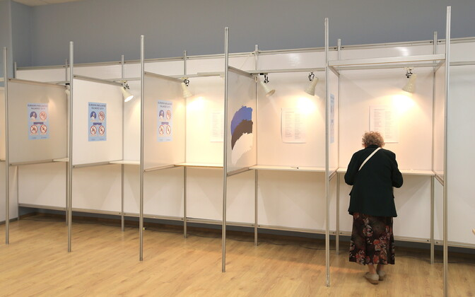 Polling station at the 2019 European elections in Estonia