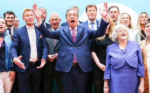 Brexiti Partei võitu tähistamas.