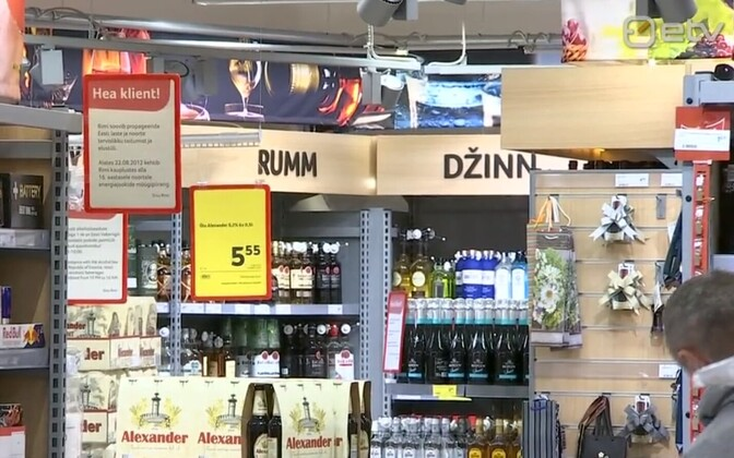 Alcoholic drinks for sale in Estonia. Such points of sale will need to be obscured, starting Saturday.