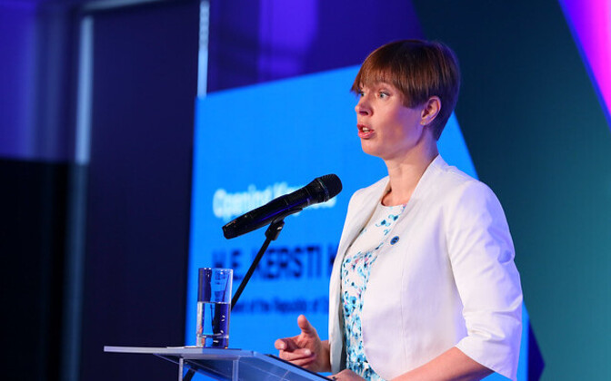 President Kersti Kaljulaid addressing last year's CyCon.