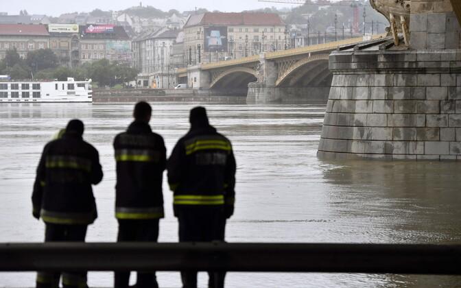 Спасательные работы на берегу Дуная.