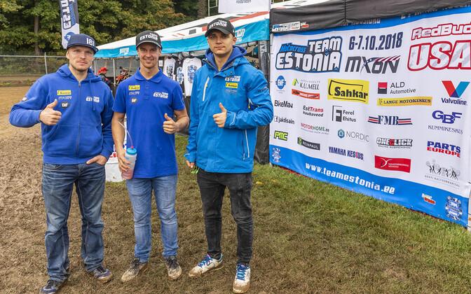 Eesti motokrossi koondis 2018. aasta koondis: (vasakult) Tanel Leok, Harri Kullas ja Hardi Roosiorg