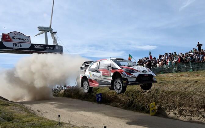 Ott Tänak and Martin Järveoja won the 2019 Rally de Portugal on Sunday. June 2, 2019.