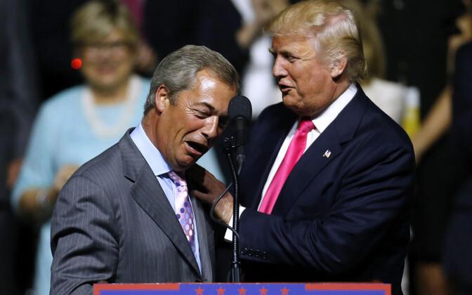 Nigel Farage Donald Trumpi valimisüritusel 2016. aastal.